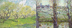 (a) Verger (b) Verger en fleurs et vue d'Arles