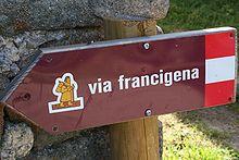 Image d'un panneau indicatif de la via Francigena
