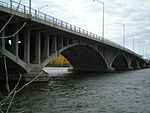 A concrete arch bridge.