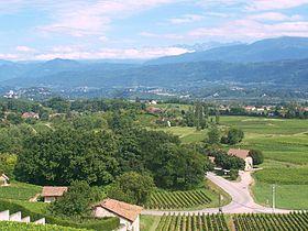 Vue sur les Marches et ses vignobles près du lac Saint-André.
