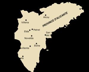 Principales villes de la province d'Alicante