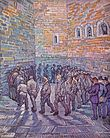 A group of male prisoners (or inmates), walk around and around in a circle, in an indoor prison (or hospital) yard. The high walls and the floor are made of stone. In the right foreground the men are being watched by a small group of three, two men in civilian clothes with top hats and a policeman in uniform. One of the prisoners in the circle looks out towards the viewer, and he has the face of a beardless Vincent van Gogh.