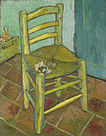 """A chair with a pipe and a heaping of tobacco in it on a tiled floor with a box in the background that reads """"Vincent"""" and two walls meeting in a corner behind the chair"""