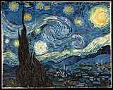A landscape in which the starry night sky takes up two thirds of the picture. In the left foreground a dark pointed Cypress pine tree extends from the bottom to the top of the picture. To the left, village houses and a church with a tall steeple are clustered at the foot of a mountain range. The sky is deep blue. In the upper right is a yellow crescent moon surrounded by a halo of light. There are many bright stars large and small, each surrounded by intense swirling halos. Across the center of the sky the Milky Way is represented as a double swirling vortex.