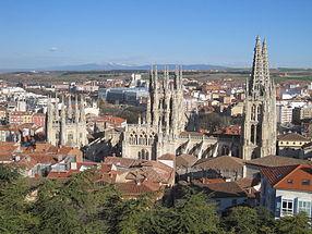 Burgos: la ville vue du Castillo,avec la Cathédrale
