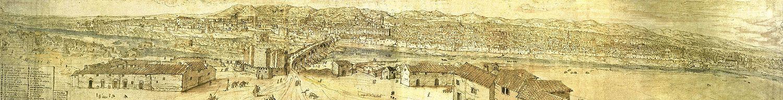 Vista de Córdoba desde el sur, por Anton Van der Wyngaerde (llamado en España «Antonio de las Viñas») en 1567, encargado por Felipe II de recoger vistas de sus ciudades. En primer plano se halla la orilla sur del Guadalquivir en la cual es claramente apreciable la Torre de la Calahorra. Partiendo de la torre y cruzando el río se halla el Puente Romano y, más al norte, puede observarse la Mezquita-Catedral.