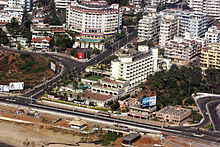 Aerial view of highways and multi-story buildings