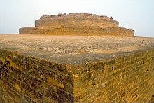 Corner of light-colored, angular stone ruins