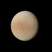 Cratered surface of Tethys at 594,000 km