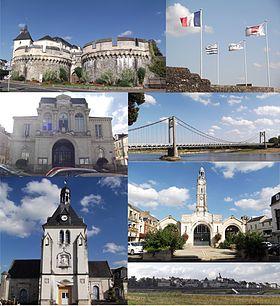 De haut en bas, de gauche à droite: Le château, les drapeaux flottants au dessus, l'Hôtel de Ville, le Pont d'Ancenis, l'église Saint Pierre, les Halles de la ville, et la panorama de la ville vu de la Loire