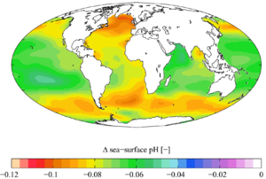 World map showing varying change to pH across different parts of different oceans