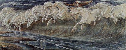 Des vagues représentées par des chevaux blancs: substitution opérée par la métaphore