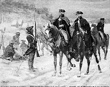 Painting of two men on horses talking to a sentry