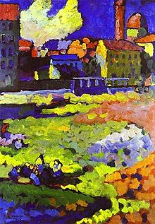 Colorful abstract painting with buildings and a church in the background