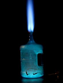Container of ethanol vapour mixed with air, undergoing rapid combustion