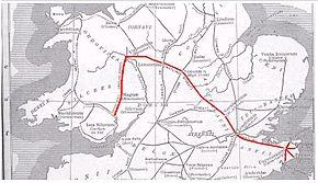 Map showing Watling Street
