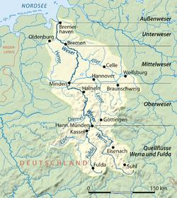 Localización del Eder en la cuenca del Weser