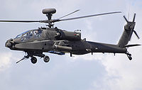 Attack helicopter hovering