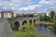 Bridge over the River Wharfe with town beyond
