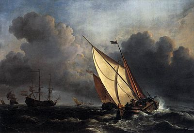 Willem van de Velde the Younger, Ships on a Stormy Sea (c. 1672)