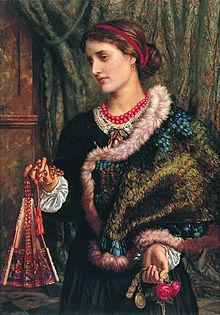 Femme parée d'une courte cape en plumes bordée de fourrure