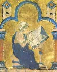 A miniature painting from a medieval manuscript, showing a man sitting at a desk writing a book.