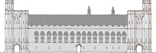 A drawing of the front of a castle hall, with two towers at either end and a row of high windows running along with the middle. The drawing is in shades of grey.