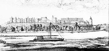 A black and white sketch of a river scene. A river runs across the foreground of the picture, with a sail boat moving along it. In the middle ground, beyond the river, is a small town, and beyond that, on the top of a ridge, is a castle stretching across the back of the picture.