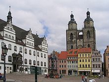 Market square, with ancient town hall, statue of Martin Luther and Stadtkirche