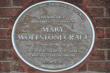 Brown plaque of Wollstonecraft's final home, in Camden