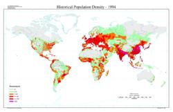 Densité de population humaine dans le monde en 1994