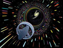 Een Wormgat-ruimteschip; een combinatie van twee populaire SF-thema's, namelijk ruimtevaart en sneller dan licht-technologie.
