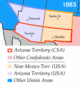 Competing Union and Confederate claims in Arizona and New Mexico (1861-1865). The 1863 date reflects the establishment of the U.S. Arizona Territory.
