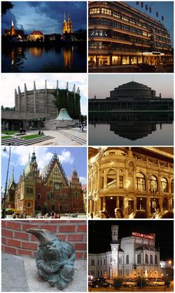 De haut en bas et de gauche à droite: Ostrów Tumski, Renoma, Panorama de Racławicka, Halle du Centenaire, hôtel de ville, hôtel Monopol, nains de Wrocław, gare centrale.