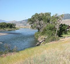 A river flows past grass-covered banks, trees are in the midground