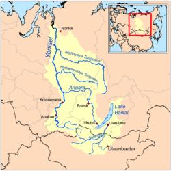 Carte du bassin de l'Ienisseï.