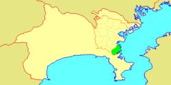 Map of Yokohama showing Kanazawa-ku highlighted