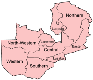 A clickable map of Zambia exhibiting its nine provinces.