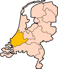 Localisation province Hollande-Méridionale des Pays-Bas