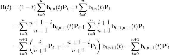 \begin{align} \mathbf{B}(t) & = (1-t)\sum_{i=0}^n \mathbf{b}_{i,n}(t)\mathbf{P}_i + t\sum_{i=0}^n \mathbf{b}_{i,n}(t)\mathbf{P}_i \\ & = \sum_{i=0}^n \frac{n+1-i}{n+1}\mathbf{b}_{i,n+1}(t)\mathbf{P}_i + \sum_{i=0}^n \frac{i+1}{n+1}\mathbf{b}_{i+1,n+1}(t)\mathbf{P}_i \\ & = \sum_{i=0}^{n+1} \left(\frac{i}{n+1}\mathbf{P}_{i-1} + \frac{n+1-i}{n+1}\mathbf{P}_i\right) \mathbf{b}_{i,n+1}(t) = \sum_{i=0}^{n+1} \mathbf{b}_{i,n+1}(t)\mathbf{P'}_i \end{align}