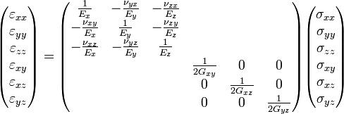 \begin{pmatrix}  \varepsilon_{xx}\\  \varepsilon_{yy}\\  \varepsilon_{zz}\\  \varepsilon_{xy}\\  \varepsilon_{xz}\\  \varepsilon_{yz} \end{pmatrix}  = \begin{pmatrix}  \frac{1}{E_x} & -\frac{\nu_{yx}}{E_y} & -\frac{\nu_{zx}}{E_z} & & & \\  -\frac{\nu_{xy}}{E_x} & \frac{1}{E_y} & -\frac{\nu_{zy}}{E_z} & & & \\  -\frac{\nu_{xz}}{E_x} & -\frac{\nu_{yz}}{E_y} & \frac{1}{E_z} \\  & & & \frac{1}{2G_{xy}} & 0 & 0 \\  & & & 0 & \frac{1}{2G_{xz}} & 0 \\  & & & 0 & 0 & \frac{1}{2G_{yz}} \\ \end{pmatrix} \begin{pmatrix}  \sigma_{xx}\\  \sigma_{yy}\\  \sigma_{zz}\\  \sigma_{xy}\\  \sigma_{xz}\\  \sigma_{yz} \end{pmatrix}