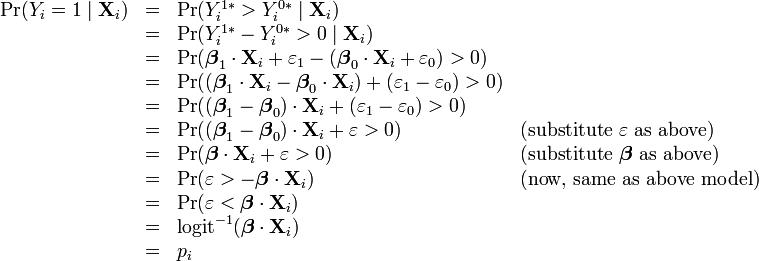 \begin{array}{rlll} \Pr(Y_i=1\mid\mathbf{X}_i) &=& \Pr(Y_i^{1\ast} > Y_i^{0\ast}\mid\mathbf{X}_i) & \\ &=& \Pr(Y_i^{1\ast} - Y_i^{0\ast} > 0\mid\mathbf{X}_i) & \\ &=& \Pr(\boldsymbol\beta_1 \cdot \mathbf{X}_i + \varepsilon_1 - (\boldsymbol\beta_0 \cdot \mathbf{X}_i + \varepsilon_0) > 0) & \\ &=& \Pr((\boldsymbol\beta_1 \cdot \mathbf{X}_i - \boldsymbol\beta_0 \cdot \mathbf{X}_i) + (\varepsilon_1 - \varepsilon_0) > 0) & \\ &=& \Pr((\boldsymbol\beta_1 - \boldsymbol\beta_0) \cdot \mathbf{X}_i + (\varepsilon_1 - \varepsilon_0) > 0) & \\ &=& \Pr((\boldsymbol\beta_1 - \boldsymbol\beta_0) \cdot \mathbf{X}_i + \varepsilon > 0) & \text{(substitute }\varepsilon\text{ as above)} \\ &=& \Pr(\boldsymbol\beta \cdot \mathbf{X}_i + \varepsilon > 0) & \text{(substitute }\boldsymbol\beta\text{ as above)} \\ &=& \Pr(\varepsilon > -\boldsymbol\beta \cdot \mathbf{X}_i) & \text{(now, same as above model)}\\ &=& \Pr(\varepsilon < \boldsymbol\beta \cdot \mathbf{X}_i) & \\ &=& \operatorname{logit}^{-1}(\boldsymbol\beta \cdot \mathbf{X}_i) & \\ &=& p_i & \end{array}
