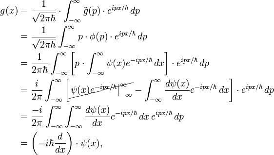 \begin{align} g(x) &= \frac{1}{\sqrt{2 \pi \hbar}} \cdot \int_{-\infty}^{\infty} \tilde{g}(p) \cdot e^{ipx/\hbar} \, dp \\ &= \frac{1}{\sqrt{2 \pi \hbar}} \int_{-\infty}^{\infty} p \cdot \phi(p) \cdot e^{ipx/\hbar} \, dp \\ &= \frac{1}{2 \pi \hbar} \int_{-\infty}^{\infty} \left[ p \cdot \int_{-\infty}^{\infty} \psi(x) e^{-ipx/\hbar} \, dx \right] \cdot e^{ipx/\hbar} \, dp \\ &= \frac{i}{2 \pi} \int_{-\infty}^{\infty} \left[ \cancel{ \left. \psi(x) e^{-ipx/\hbar} \right|_{-\infty}^{\infty} } - \int_{-\infty}^{\infty} \frac{d\psi(x)}{dx} e^{-ipx/\hbar} \, dx \right] \cdot e^{ipx/\hbar} \, dp \\ &= \frac{-i}{2 \pi} \int_{-\infty}^{\infty} \int_{-\infty}^{\infty} \frac{d\psi(x)}{dx} e^{-ipx/\hbar} \, dx \, e^{ipx/\hbar} \, dp \\ &= \left( -i \hbar \frac{d}{dx} \right) \cdot \psi(x) ,\end{align}