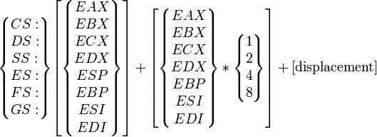 \begin{Bmatrix}CS:\\DS:\\SS:\\ES:\\FS:\\GS:\end{Bmatrix} \begin{bmatrix}\begin{Bmatrix}EAX\\EBX\\ECX\\EDX\\ESP\\EBP\\ESI\\EDI\end{Bmatrix}\end{bmatrix} + \begin{bmatrix}\begin{Bmatrix}EAX\\EBX\\ECX\\EDX\\EBP\\ESI\\EDI\end{Bmatrix}*\begin{Bmatrix}1\\2\\4\\8\end{Bmatrix}\end{bmatrix} + \rm [displacement]