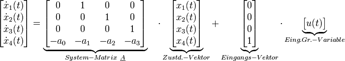\begin{bmatrix}           \dot{x}_{1}(t)\\           \dot{x}_{2}(t)\\           \dot{x}_{3}(t)\\           \dot{x}_{4}(t)\\           \end{bmatrix}               =   \underbrace{\begin{bmatrix}            0&           1&           0&           0\\            0&           0&           1&           0\\            0&           0&           0&           1\\           -a_0&        -a_1&       -a_2&        -a_3         \end{bmatrix}}_{System-Matrix \ \underline {A}}                 \quad  \cdot  \underbrace{\begin{bmatrix}             x_{1}(t)\\            x_{2}(t)\\            x_{3}(t)\\            x_{4}(t)\\      \end{bmatrix}}_{Zustd.-Vektor}                 +    \underbrace{\begin{bmatrix}                 0\\             0\\             0\\             1\\         \end{bmatrix}}_{Eingangs-Vektor}              \cdot  \underbrace{\begin{bmatrix}           u(t)       \end{bmatrix}}_{Eing.Gr.-Variable}