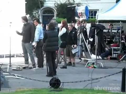 Doctor Who filming - Matt Smith with Karen Gillan.ogv