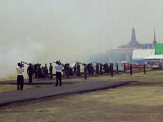 Gun salute for Rama IX's Coronation Day 2009 at Sanam Luang.ogg