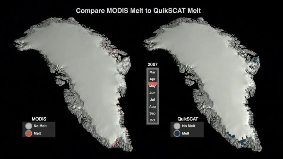 NASA's MODIS and QuikSCAT satellite data from 2007 confirm precision of different melt observations.ogv