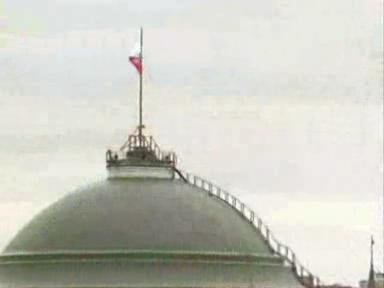 A video showing the inside and outside of the Kremlin. During the video, the Russian anthem is playing in the background.