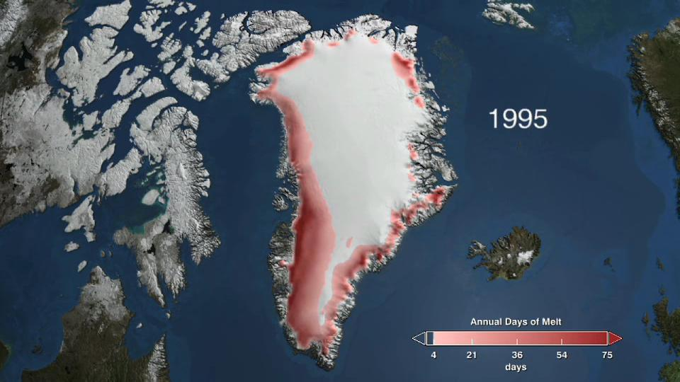 Satellite measurements of Greenland's ice cover from 1979 to 2009 reveals a trend of increased melting.ogv